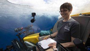 Heidi Sosik enters the ocean in manned submersible