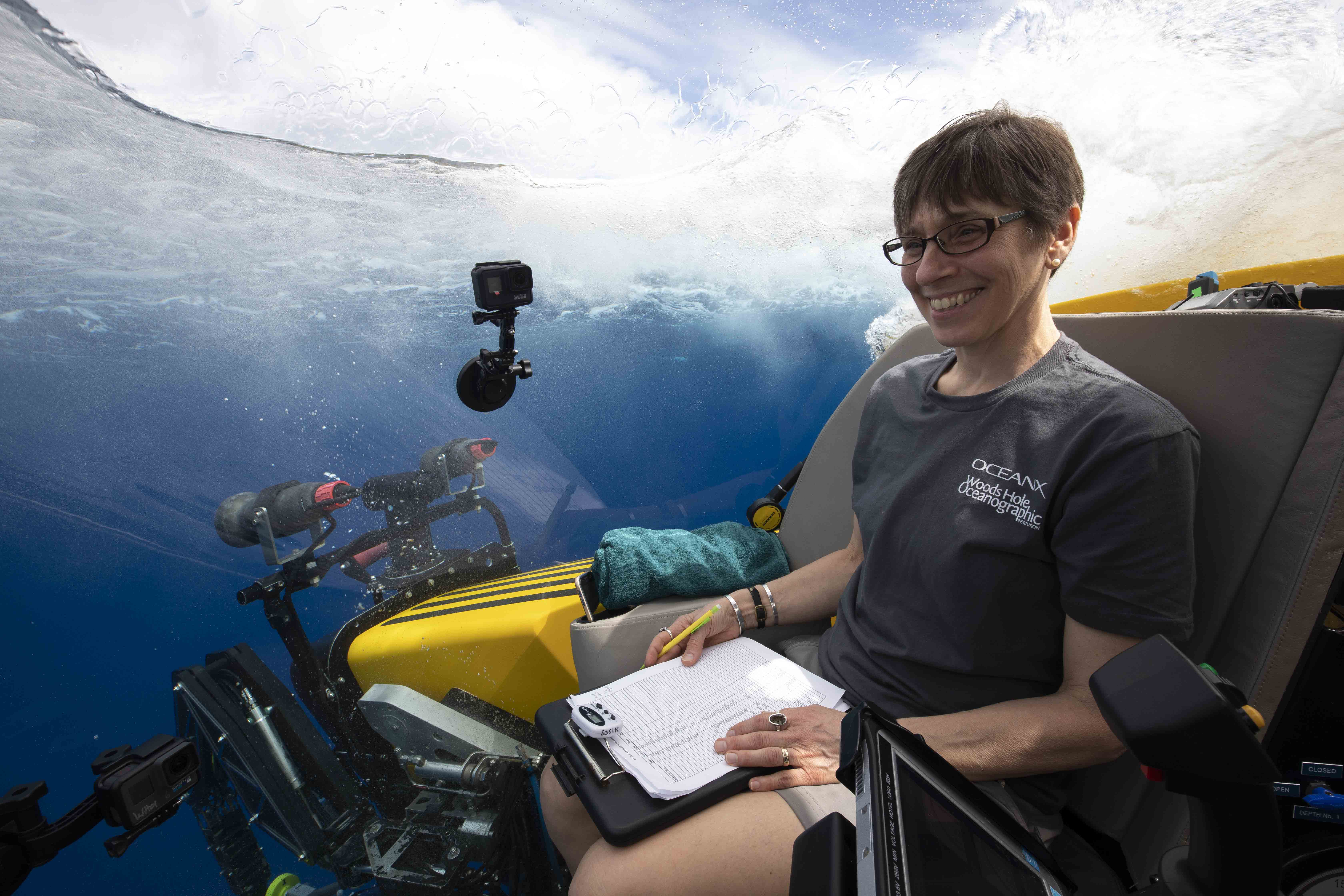 Heidi Sosik enters the ocean in manned submersible