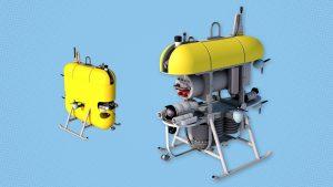 Illustration of Mesobot robot, an oblong yellow shape