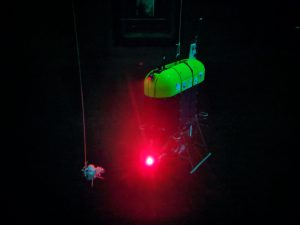 Mesobot using red light in a test tank