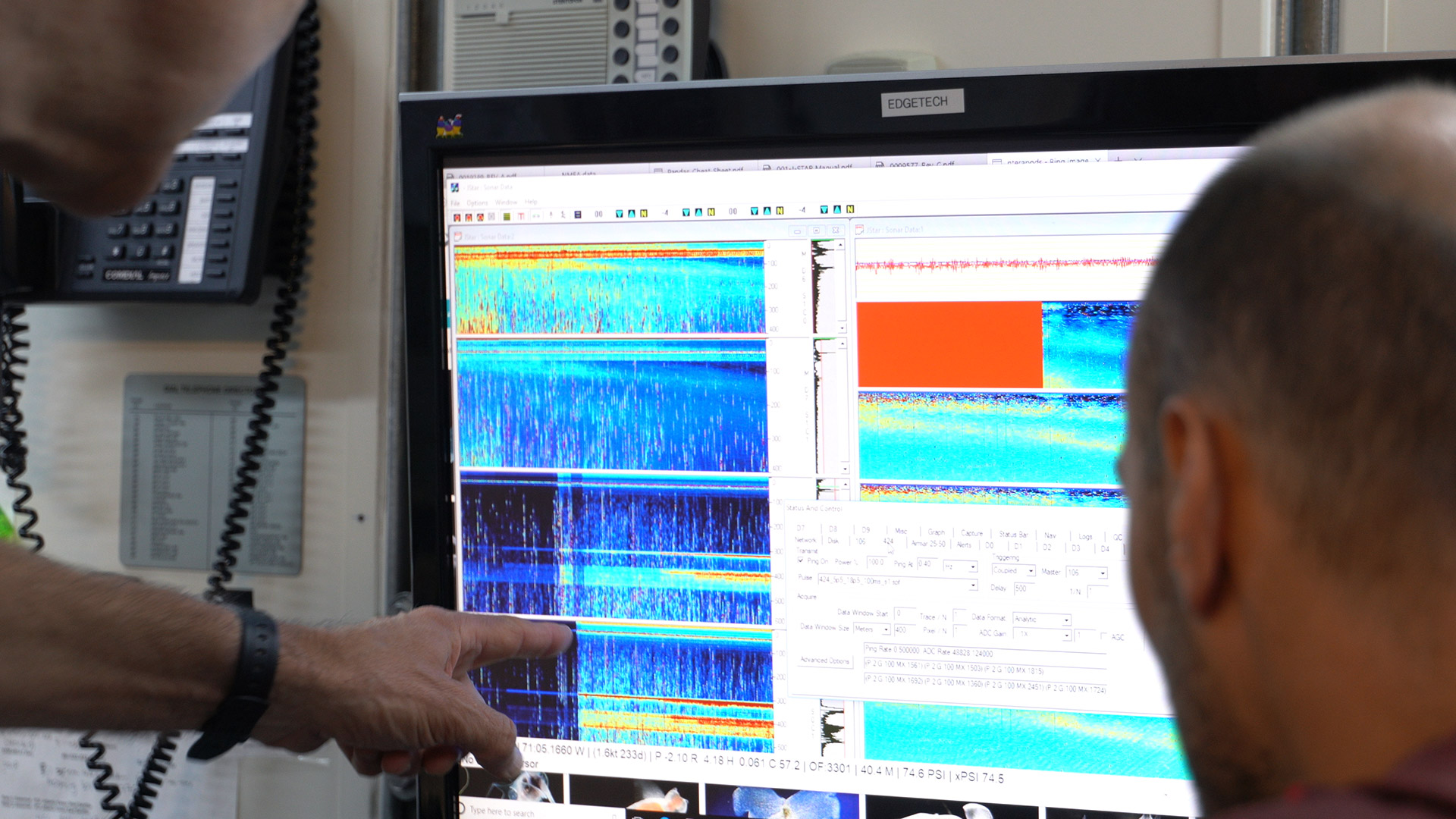 Acoustic data arrives from the <em>Deep-See</em> platform during a 2019 cruise. (Photo by Erik Olsen)