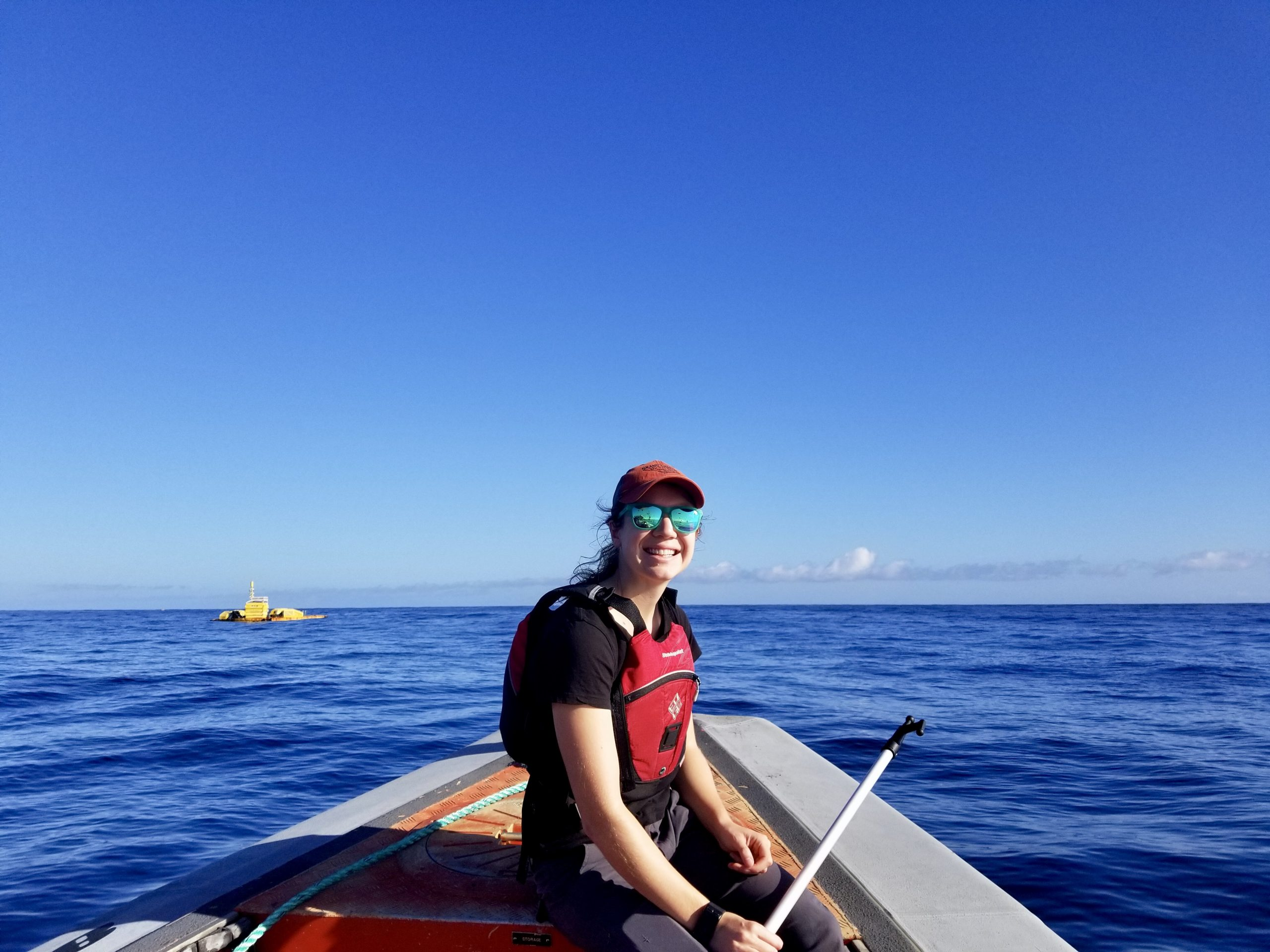 As part of her graduate work at the University of Washington, Cotter collects acoustic data at the Wave Energy Test Site in Kaneohe Bay, HI. Photo credit: James Joslin (APL/UW)