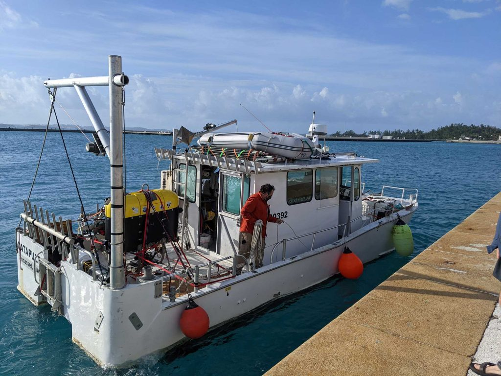 After clearing customs in Bermuda, RV <em>Catapult</em> and <em>Mesobot</em> arrive at Station B, ready to begin work. (Photo by Dana Yoerger, ©Woods Hole Oceanographic Institution)