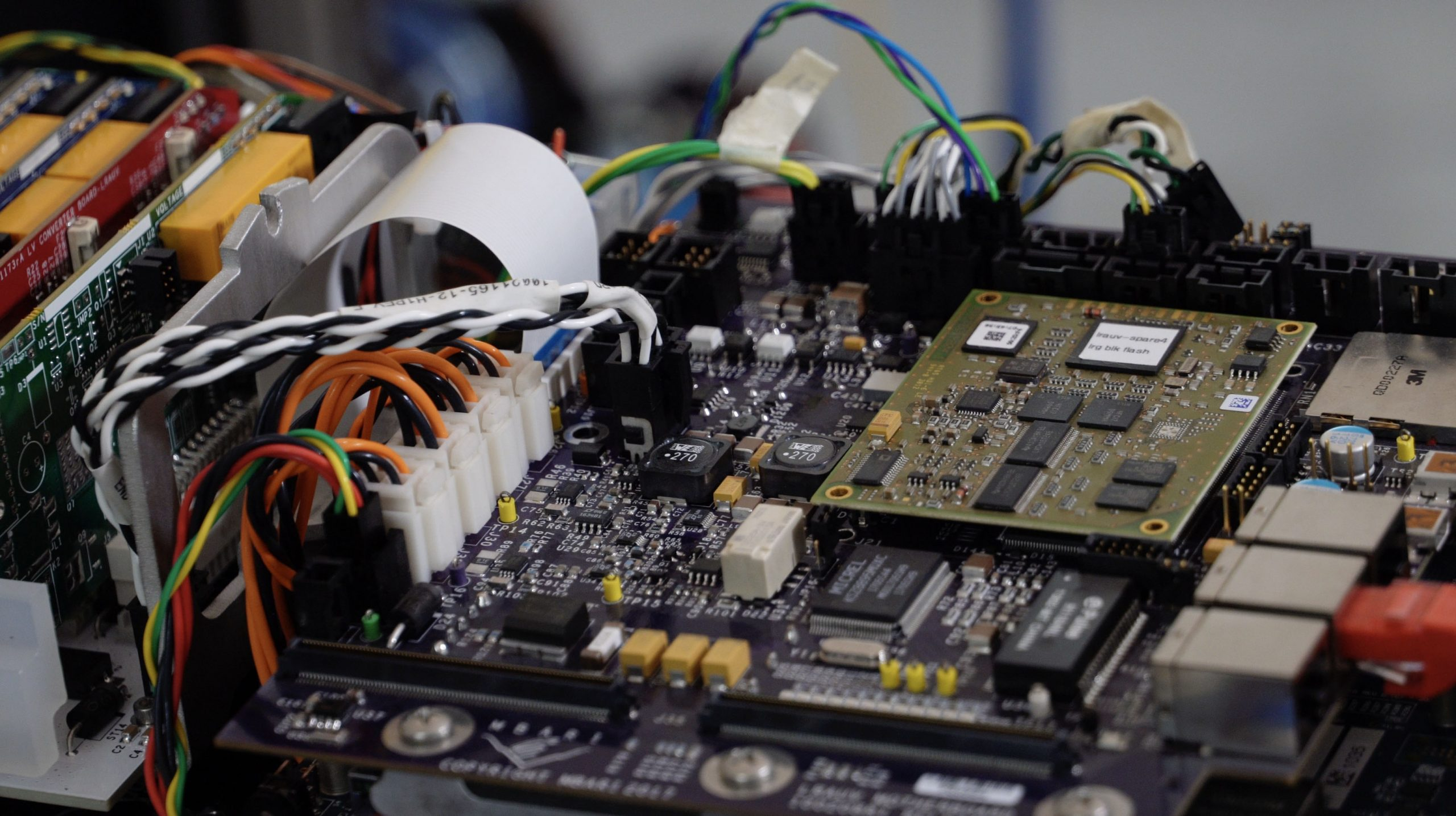 Pictured here is the LRAUV motherboard, which controls most of Mesobot's basic functions like power and data gathering from various sensors.