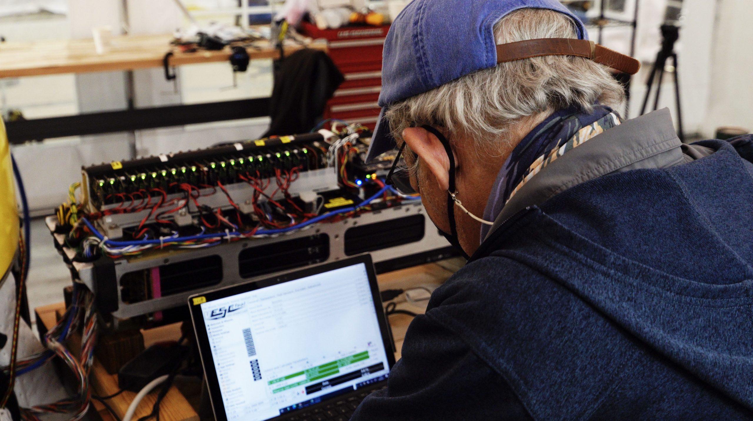 WHOI Senior Scientist Dana Yoerger Dana Yoerger tests Mesobot's thrusters.