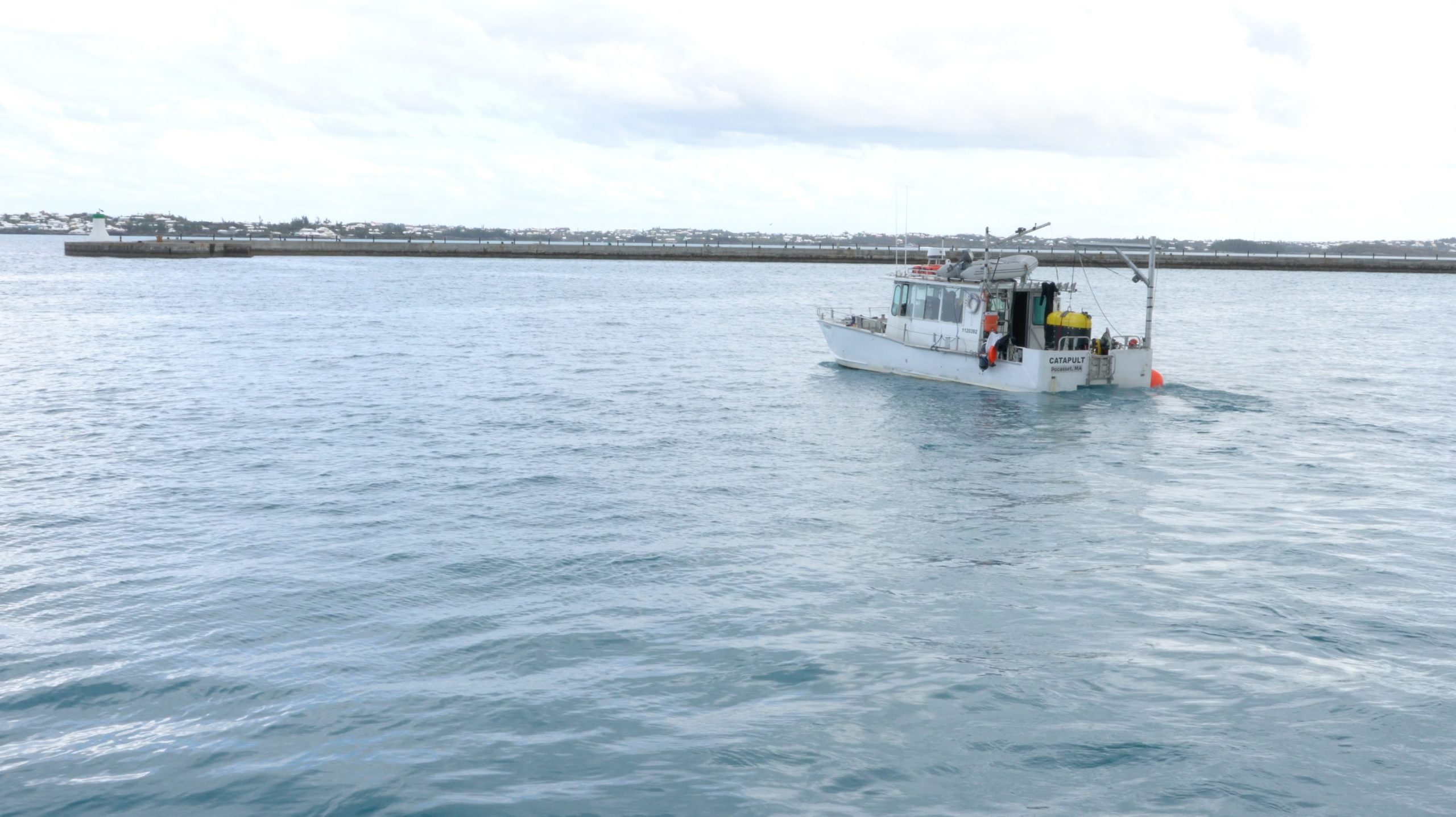 The R/V Catapult transports Mesobot to a nearby marina for testing in saltwater.