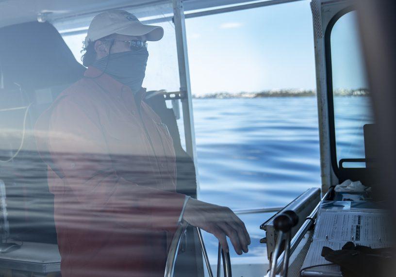 Captain David Ullman uses sonar to skillfully keep the <em>Catapult</em> in range of <em>Mesobot</em>. Credit: Jennifer Berglund