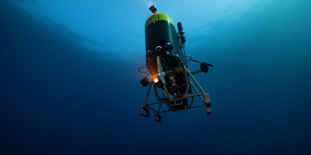 <em>Mesobot</em> starts its descent into the waters of the twilight zone just a few miles offshore from Bermuda. (Photo: Evan Kovacs)