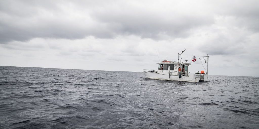 R/V <em>Catapult</em> as seen from its dinghy. (Photo: Jennifer Berglund)