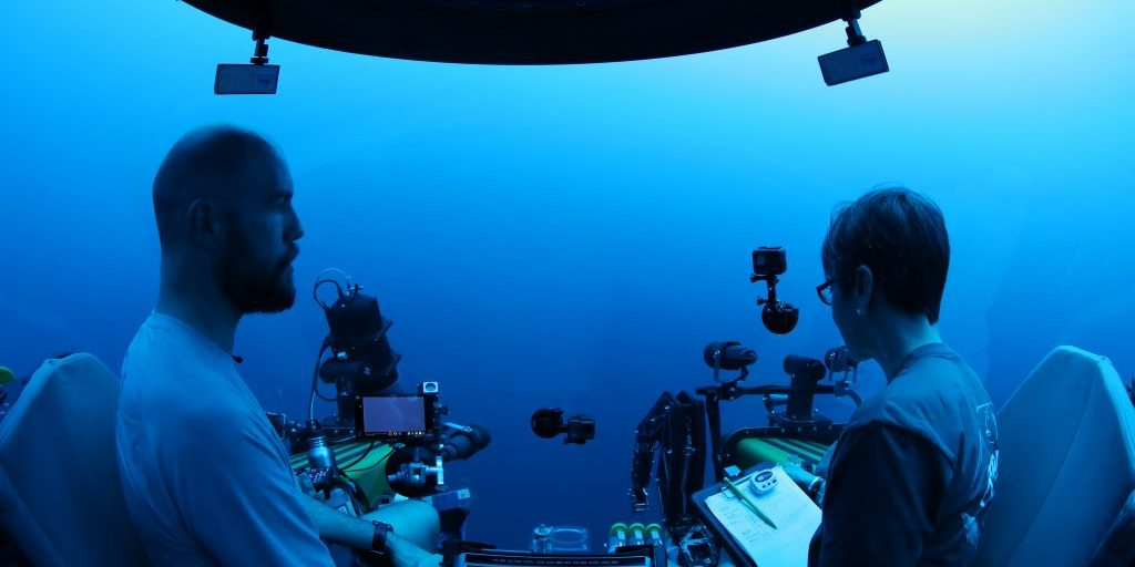 Heidi Sosik and Paul Caiger in a manned submersible.