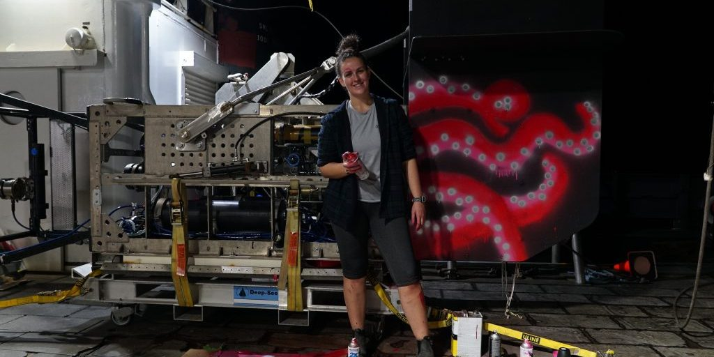 Deep-See gets a new paint scheme courtesy of Kayla Gardner, a PhD student in the MIT-WHOI Joint Program. (Photo by Erik Olsen)